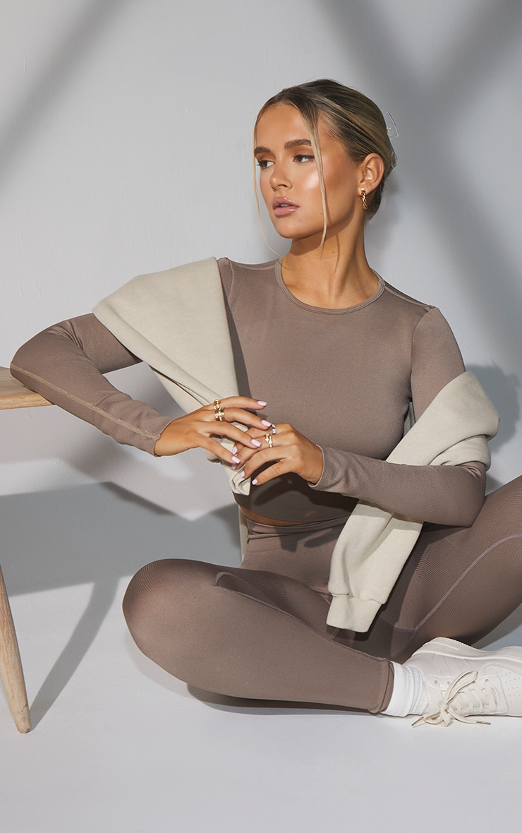 Taupe Seamless Long Sleeve Rib Detail Sports Top 1