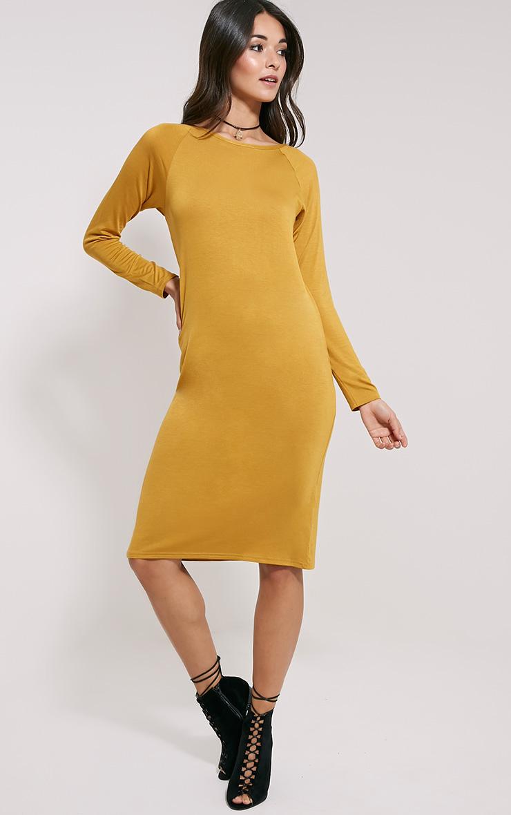 Jean Mustard Long Sleeve Jersey Midi Dress 3