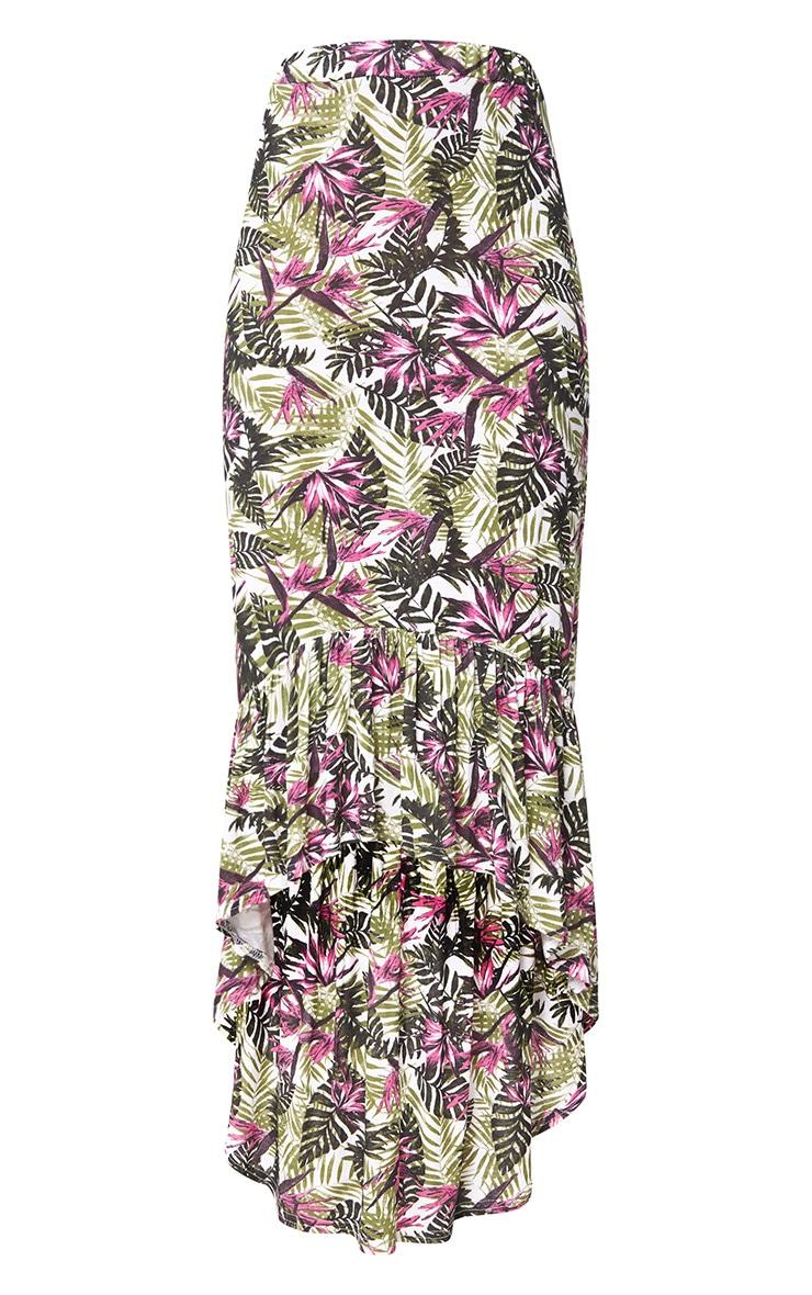 Pink Palm Print Hi Lo Hem Maxi Skirt 3