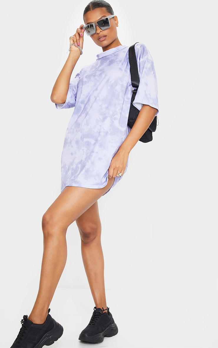 Lilac Tie Dye Oversized Boyfriend T Shirt Dress 3