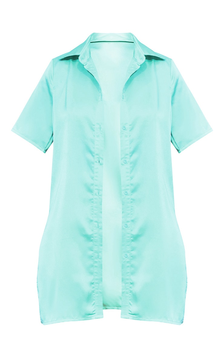 Mint Satin Short Sleeve Shirt 5