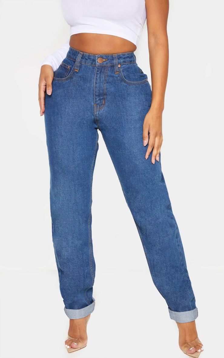 Shape Mid Wash High Waist Mom Jeans 2