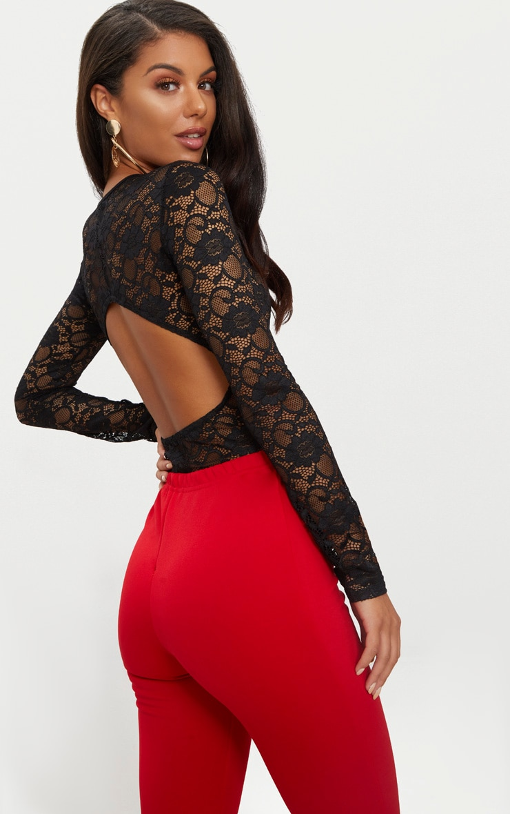 Black Lace Long Sleeve Backless Thong Bodysuit 1