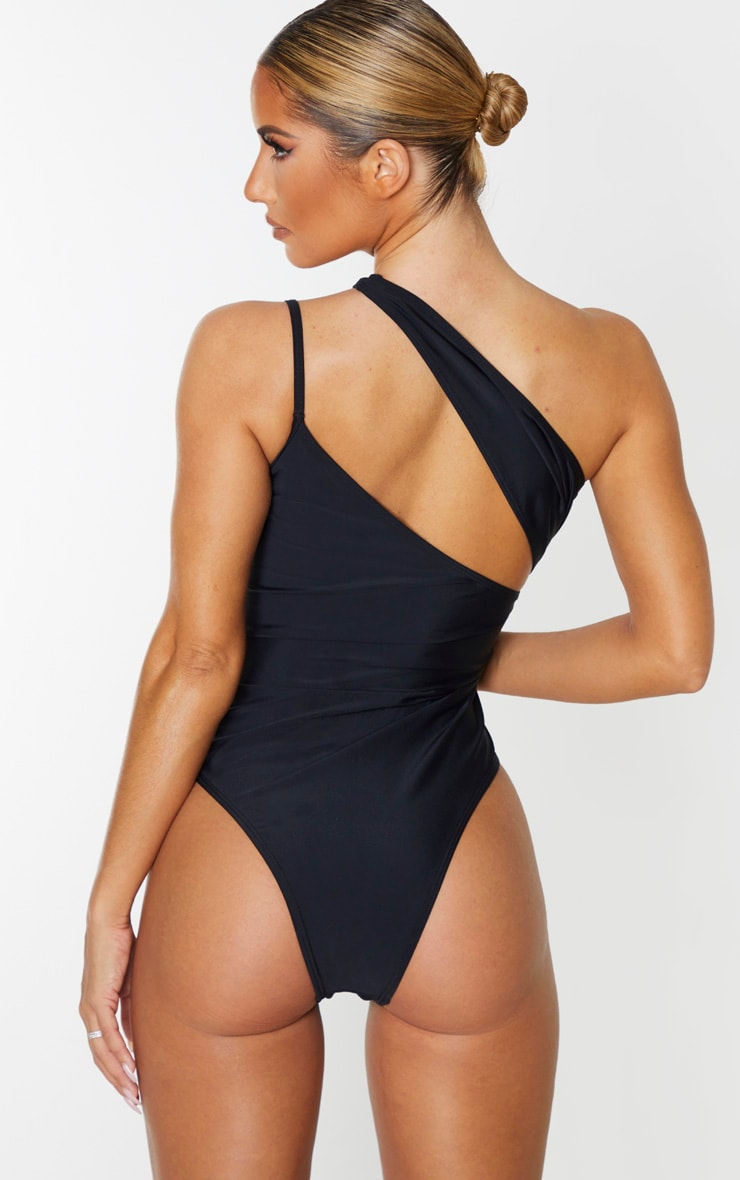 Black Asymmetric Double Strap Swimsuit 2