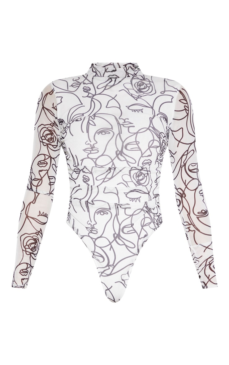 White Faces Printed Mesh High Neck Bodysuit 3