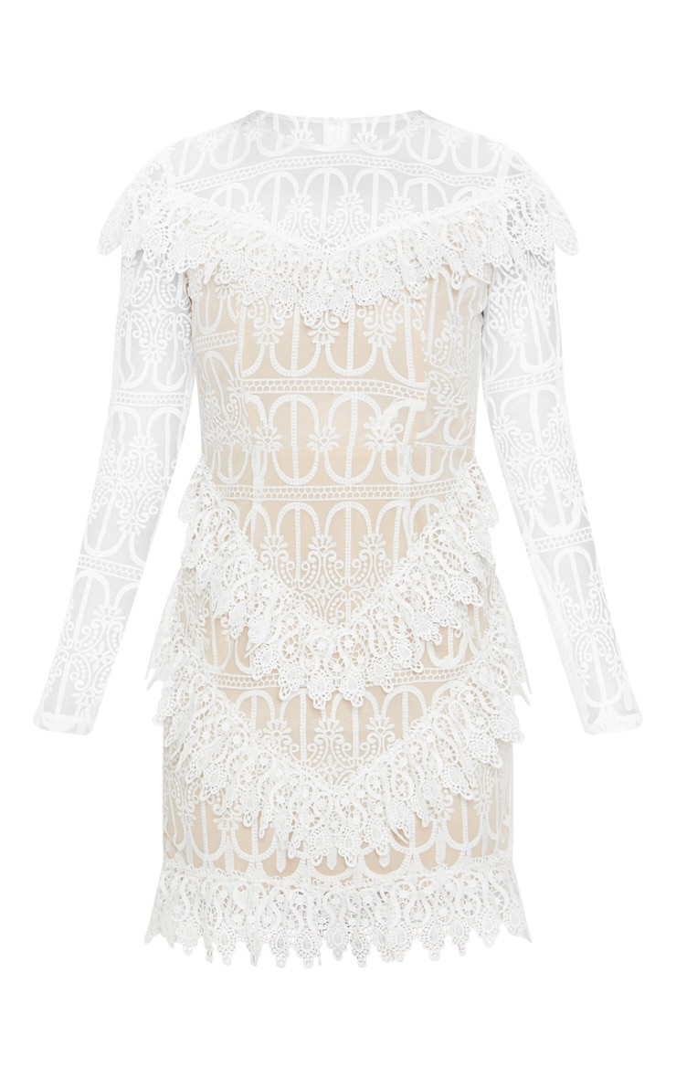 White Lace Frill Detail Long Sleeve Bodycon Dress 3