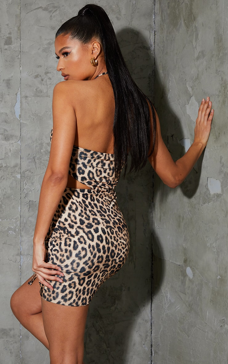 Multi Leopard Print Slinky Halterneck Cut Out Ruched Bodycon Dress 2