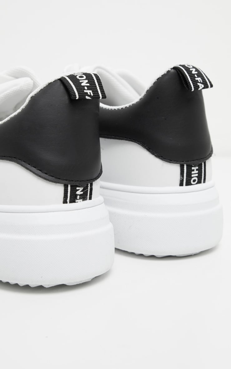 White Thick Sole Lace Up Sneakers 4