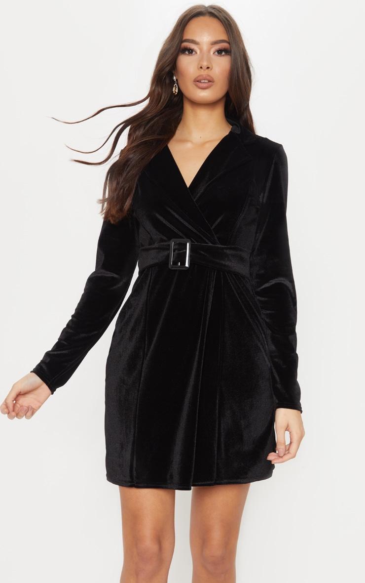 Black Velvet Belted Blazer Dress 1