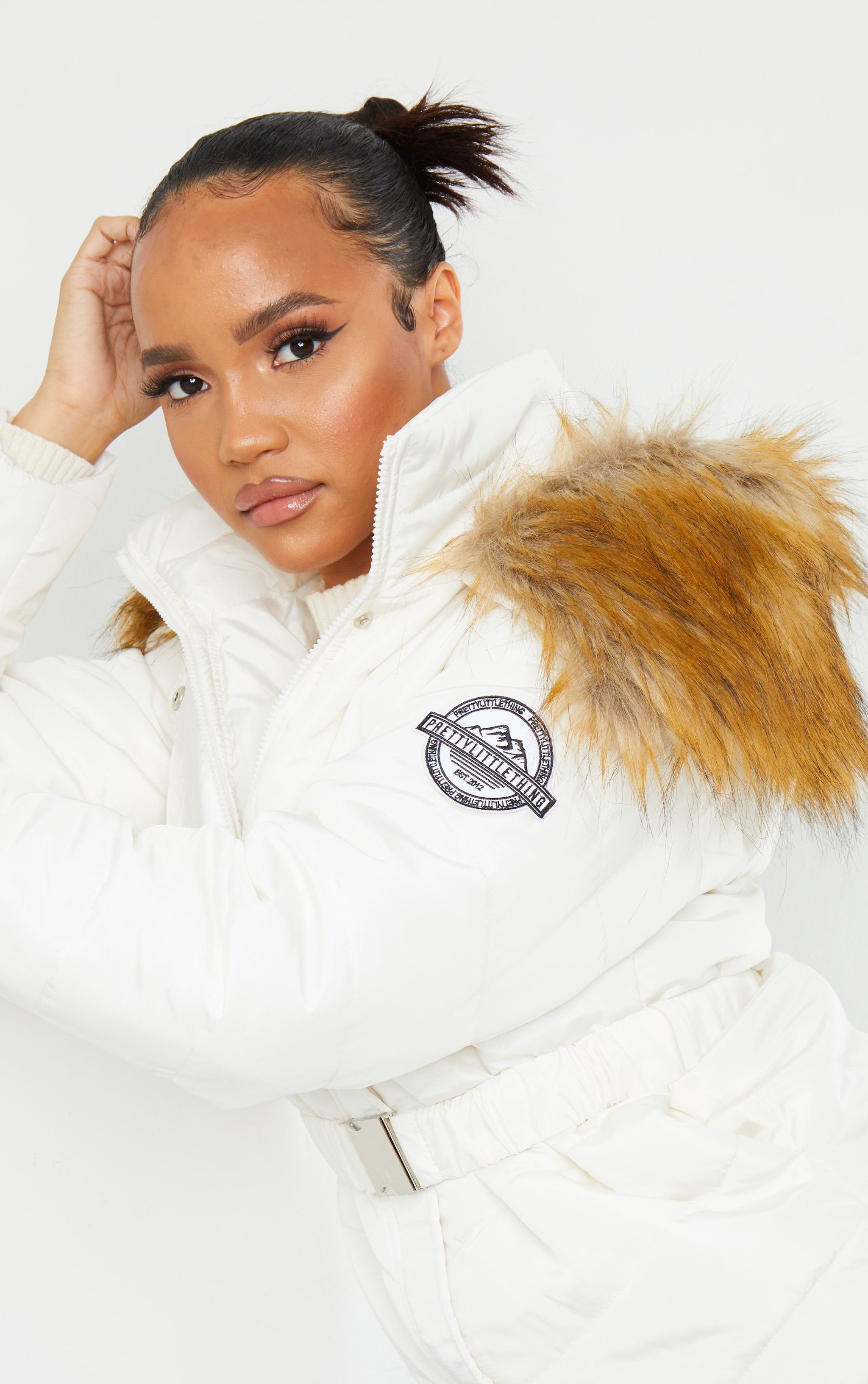 PRETTYLITTLETHING White Belted Faux Fur Hooded Quilted Parka Coat 3