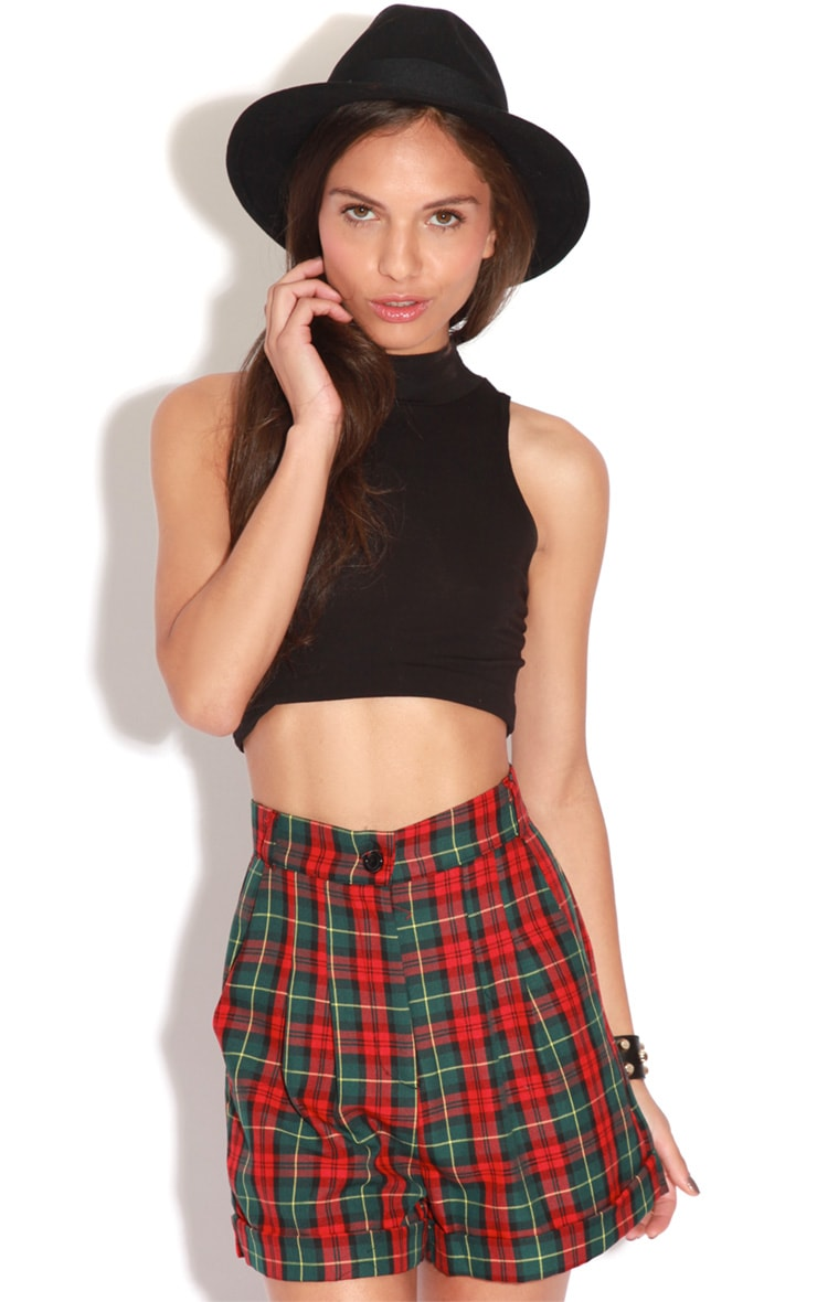 Arcadia Green High Waist Tartan Shorts 1