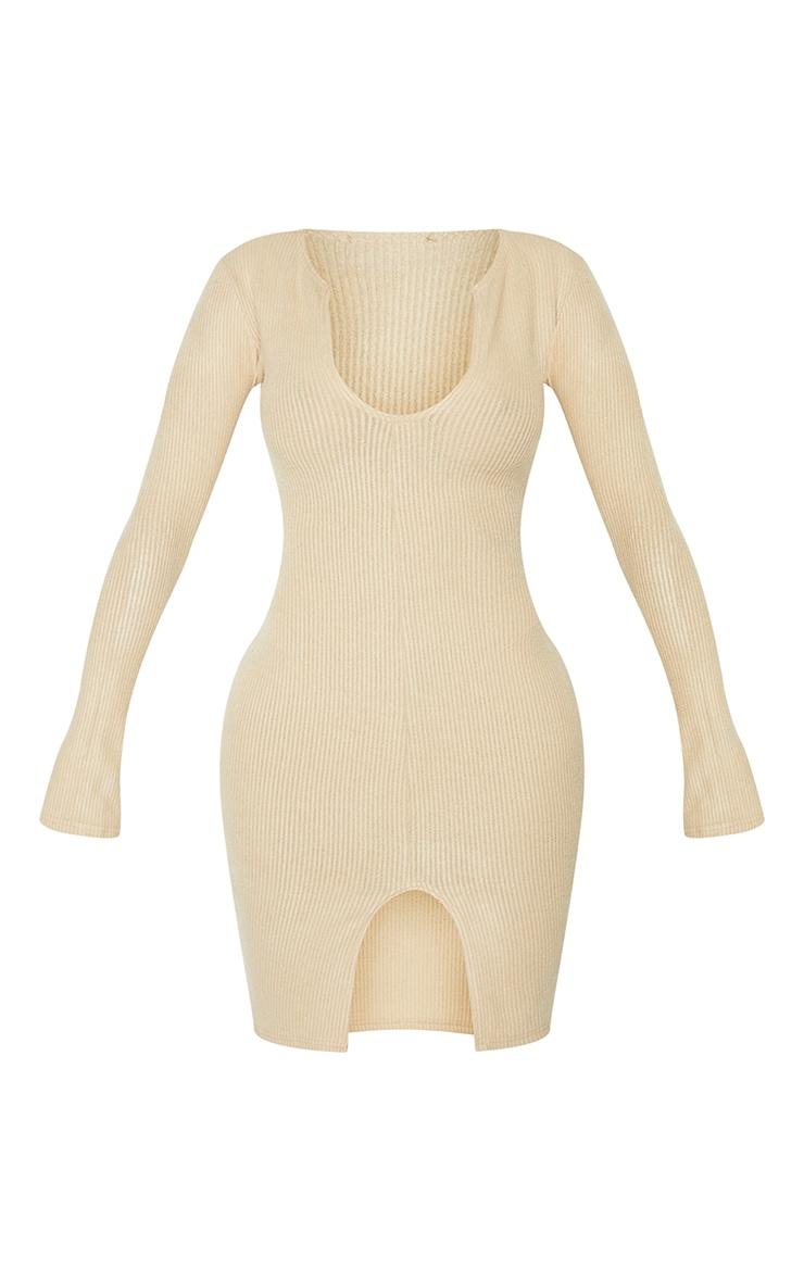 Shape Stone Brushed Rib Split Sleeve Bodycon Dress 5