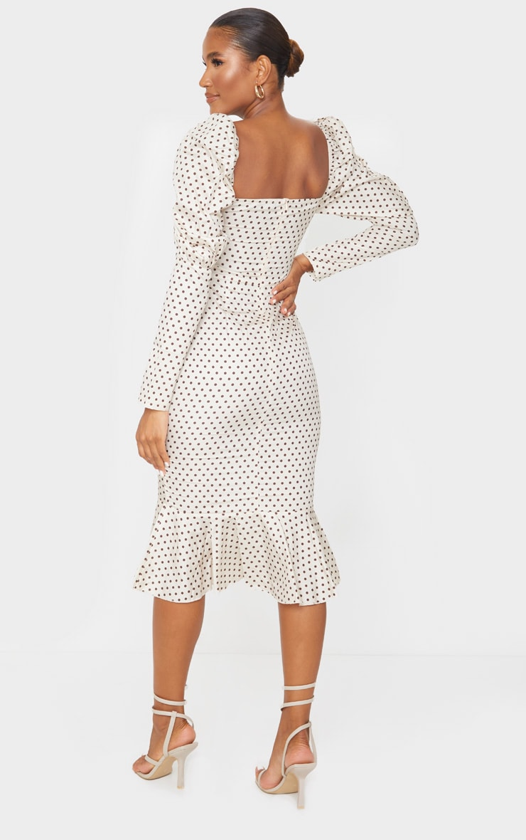 Nude Polka Dot Puff Sleeve Ruched Detail Frill Hem Midi Dress 2