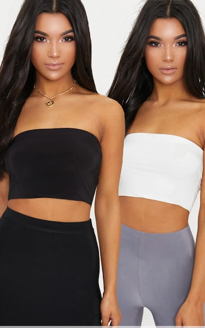 9b8c171d85c 2 Pack Black and White Slinky Bandeau Crop Top