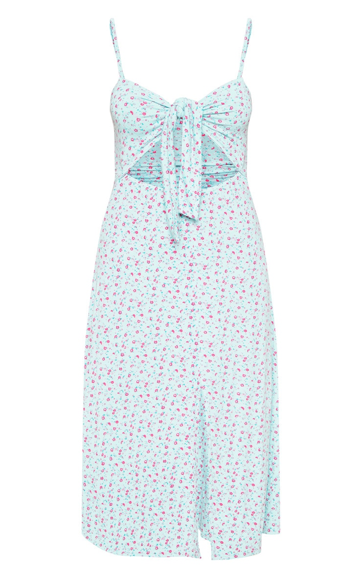 Turquoise Ditsy Floral Tie Front Strappy Swing Dress 3