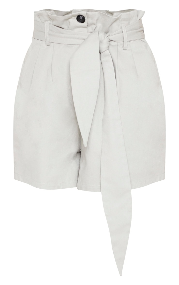 Grey Woven Tie Waist Pleat Detail Short  3