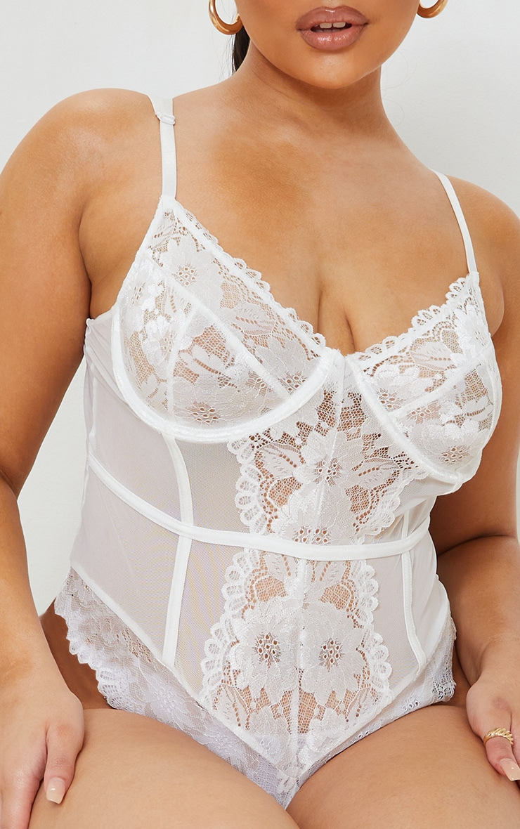 Plus White Underwired Cage Detail Lace Body 4