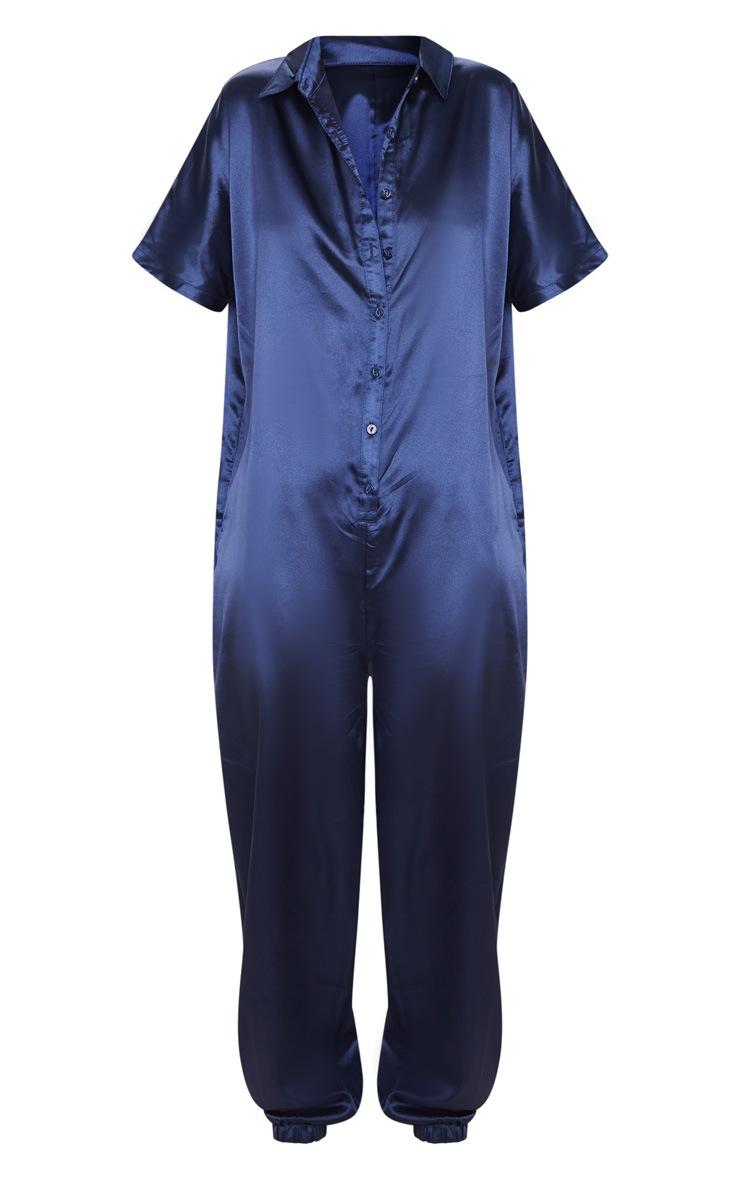 Navy Bonded Satin Oversized Shirt Jumpsuit 3
