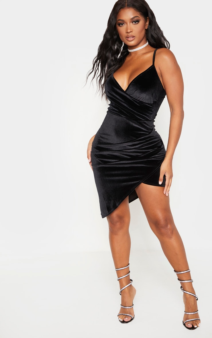 Shape Black Velvet Strappy Wrap Bodycon Dress 4