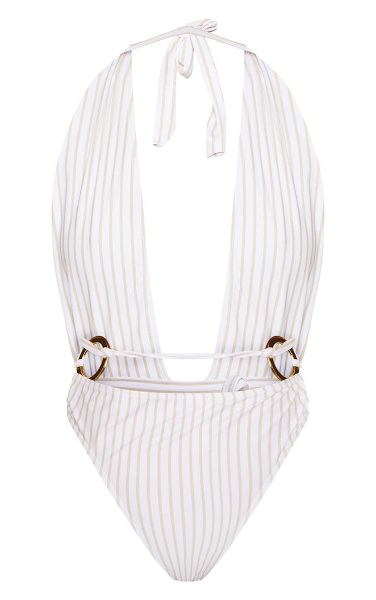 White Halterneck Striped Ring Belted Swimsuit 5