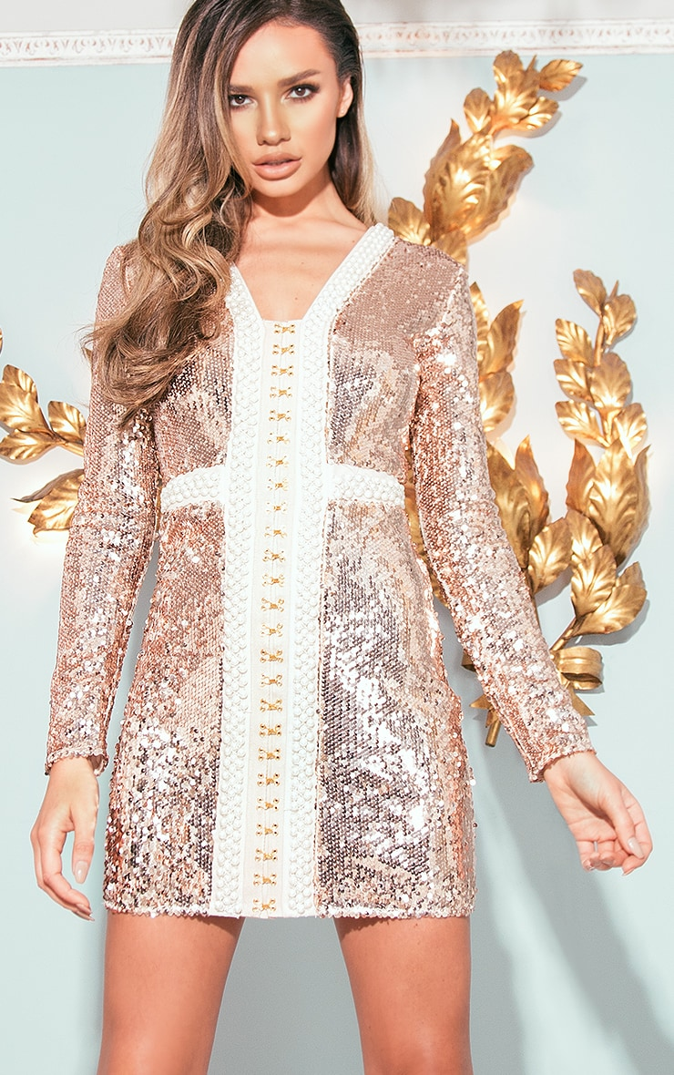 Valencia Rose Gold Premium Embellished Sequin Bodycon Dress 1