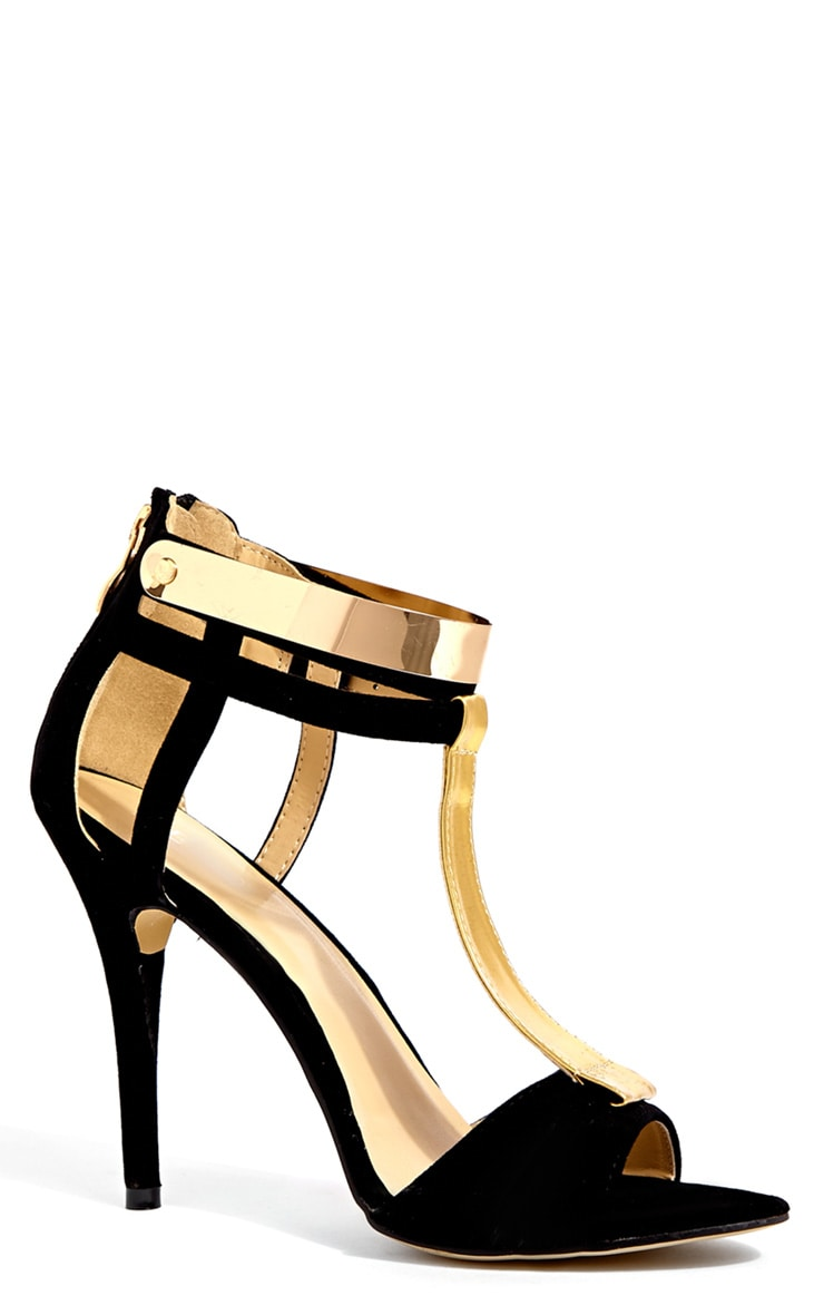 Carolina Black Gold Plated Suede Stiletto Sandle 2