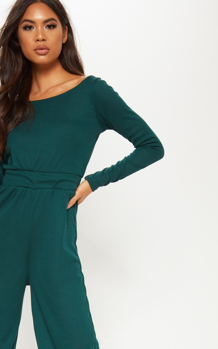 Emerald Green Rib Off Shoulder Culotte Jumpsuit 5