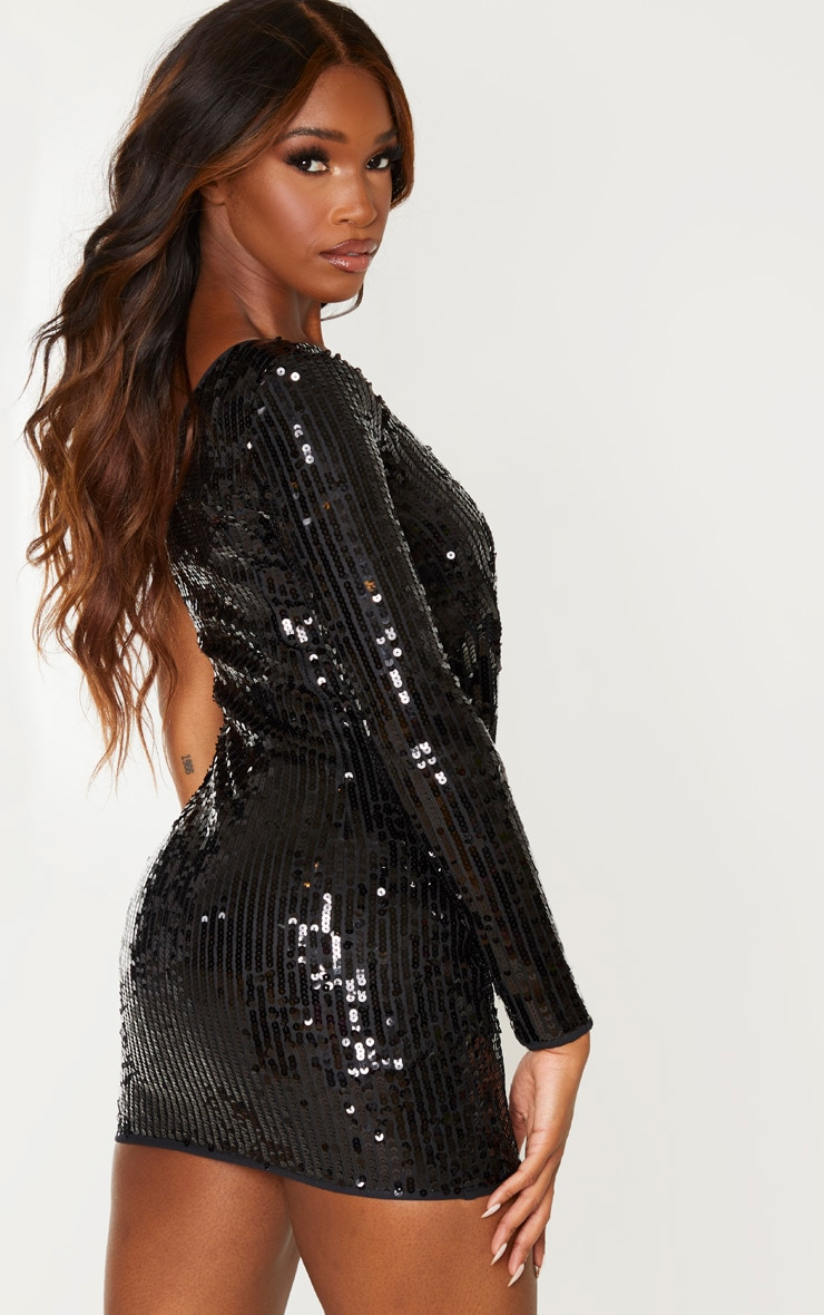 Black Sequin One Shoulder Bodycon Dress 2