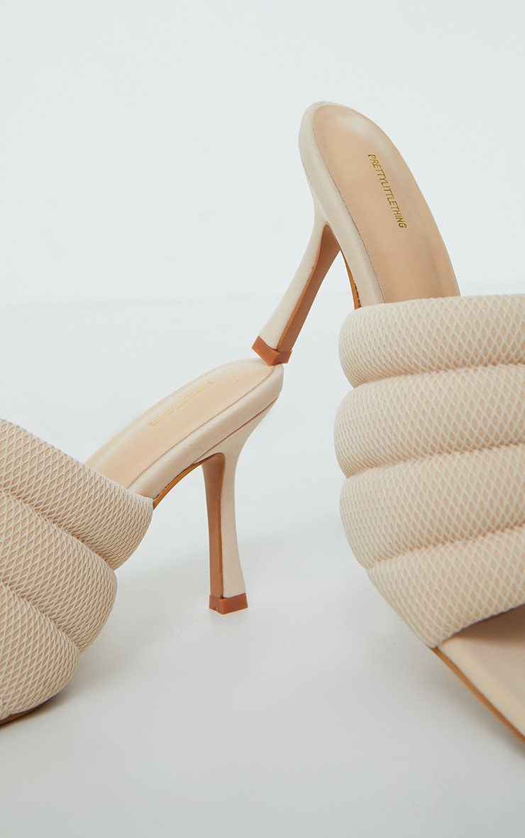 Cream Tube Strap Extreme Square Toe Mule Heels 4