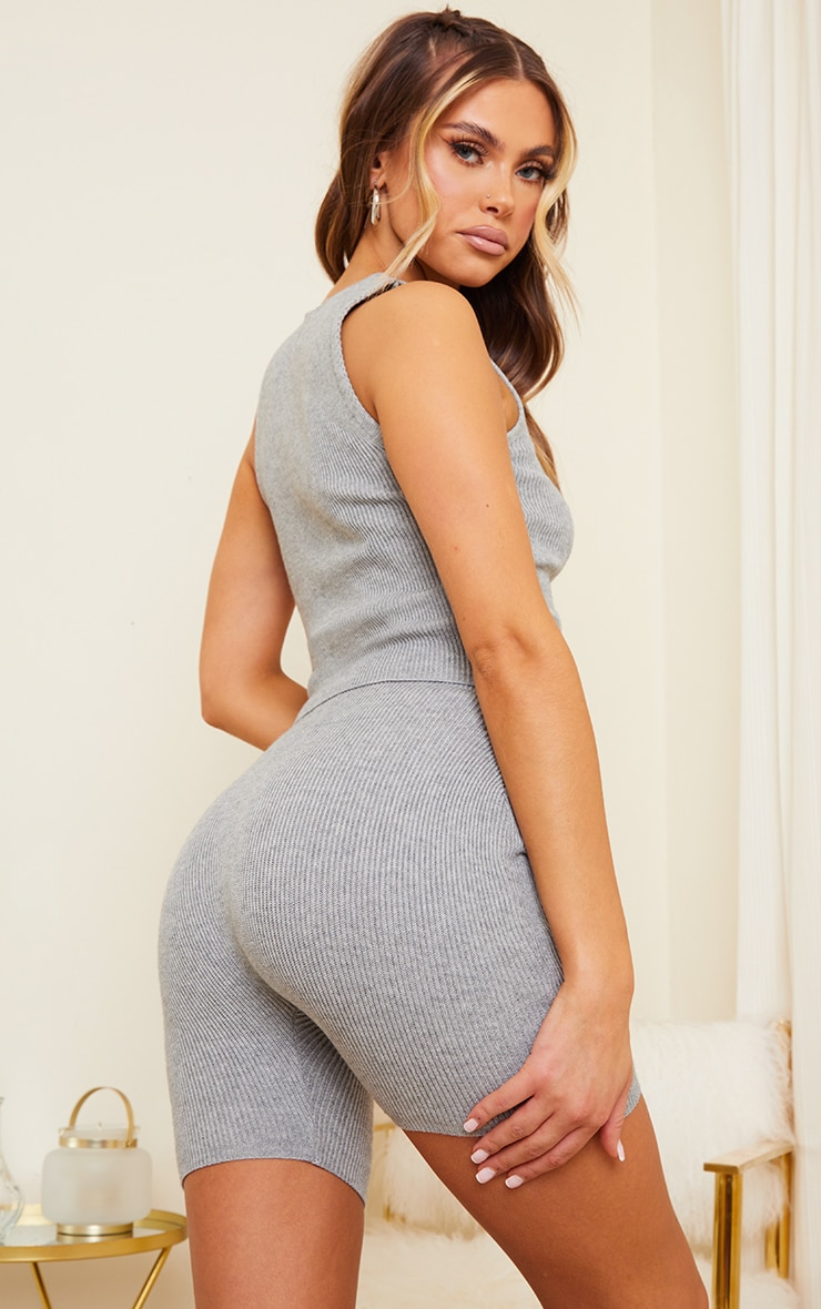 Grey Ribbed Knitted Crop Top 2