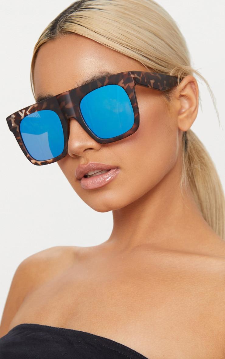 Tortoise Shell Wide Frame Square Sunglasses 1