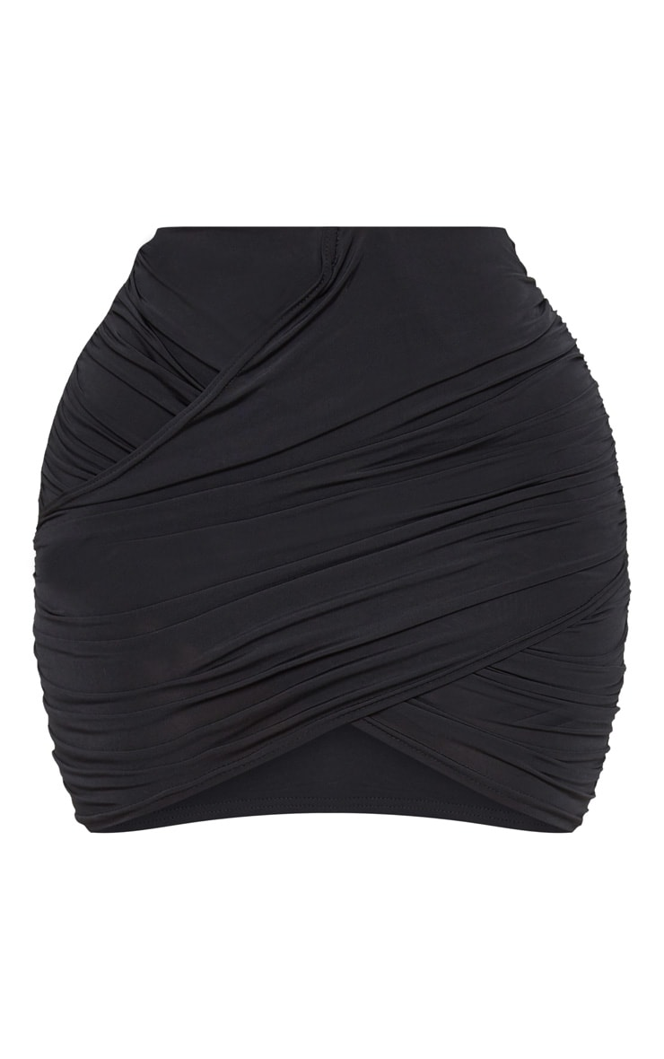 Shape Black Slinky Ruched Mini Skirt 3