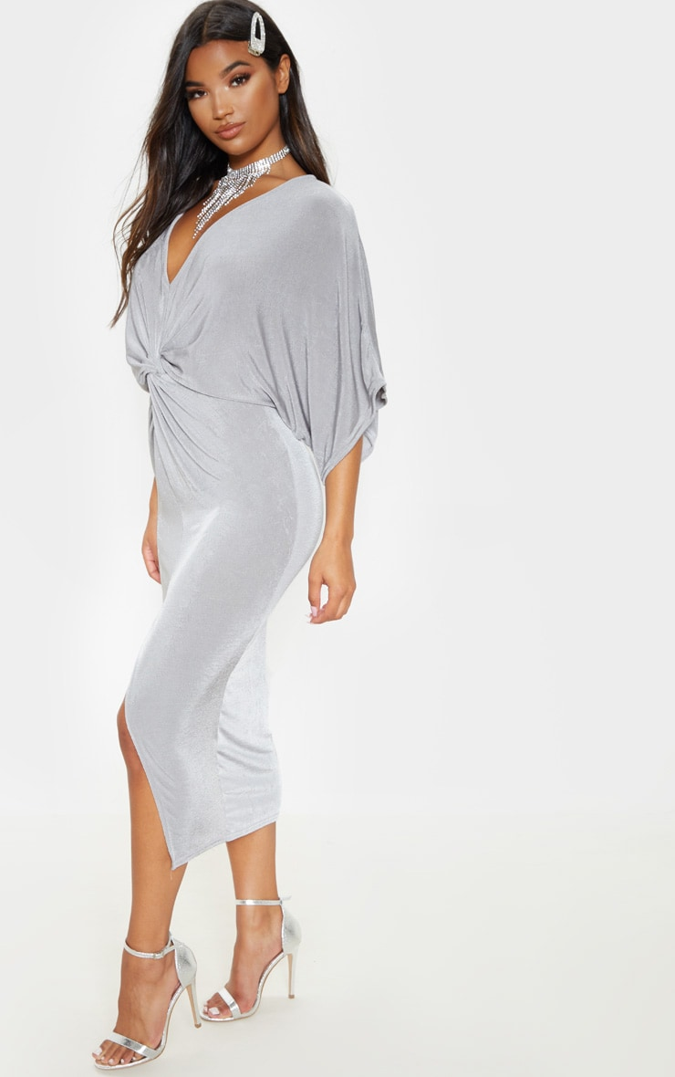 Ice Grey Slinky Twist Front Kimono Sleeve Midi Dress 4