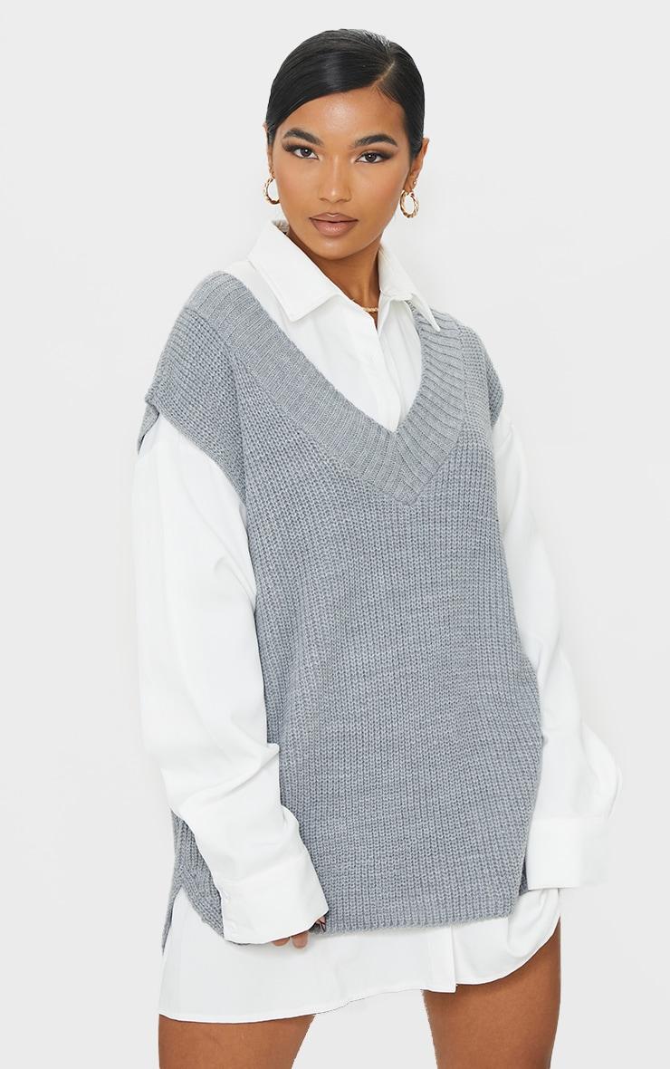 Grey V Neck Knitted Side Split Vest 3