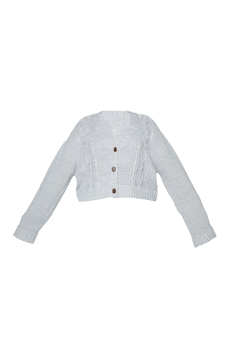 Plus Light Grey Cable Cropped Cardigan 5