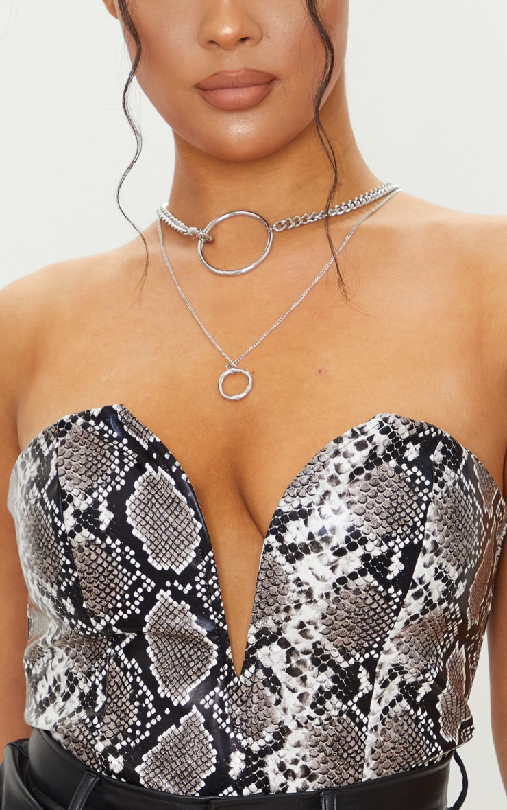 Grey Snake Print Faux Leather V Wire Bandeau Bodysuit 4