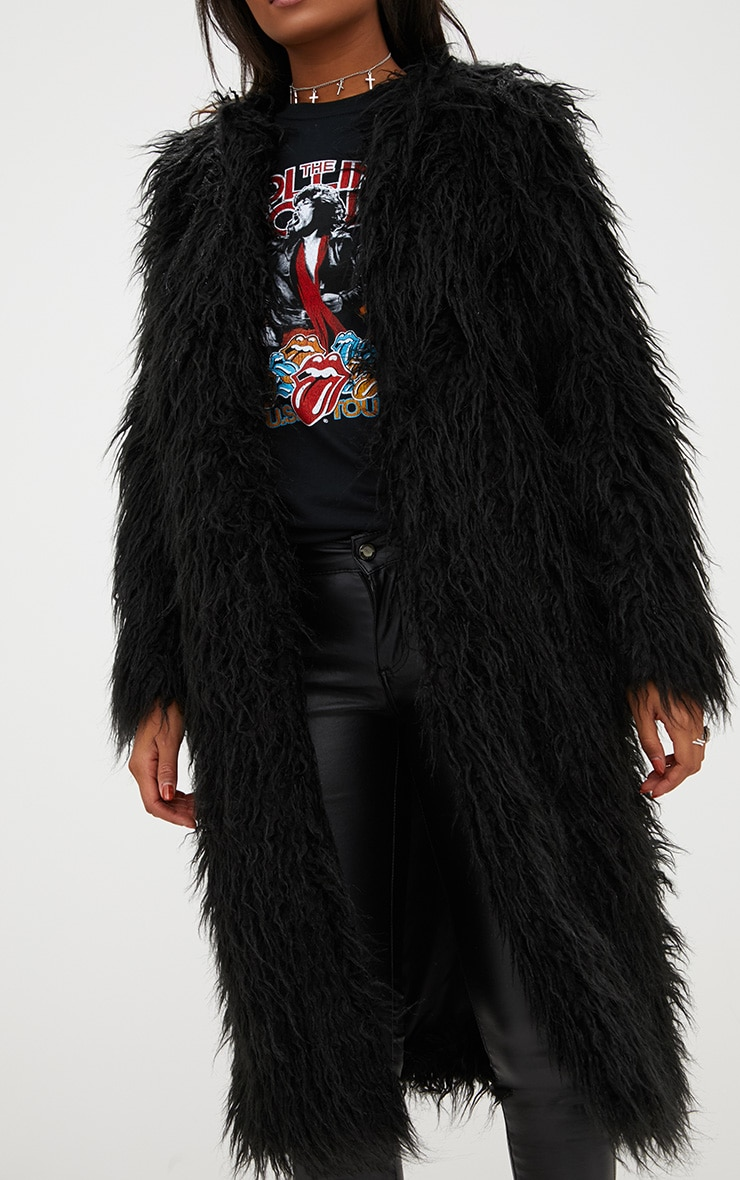 Black Shaggy Longline Faux Fur Coat 5