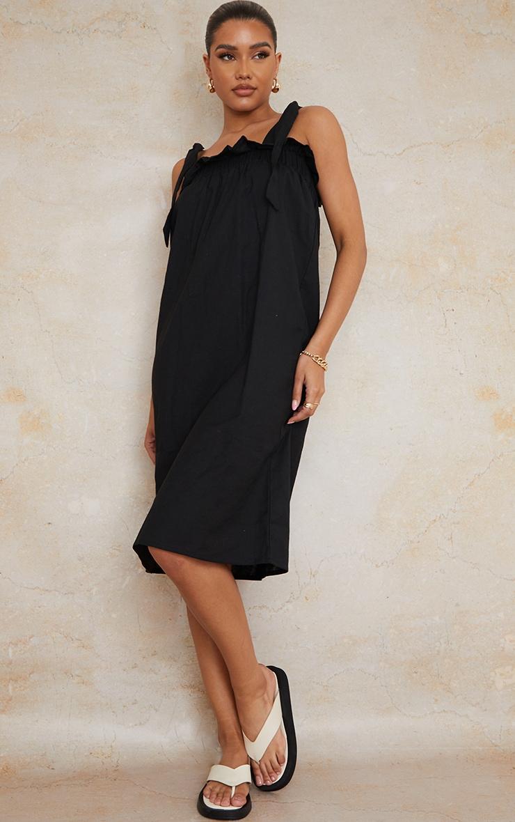 Black Linen Look Tie Strap Ruched Smock Midi Dress 1