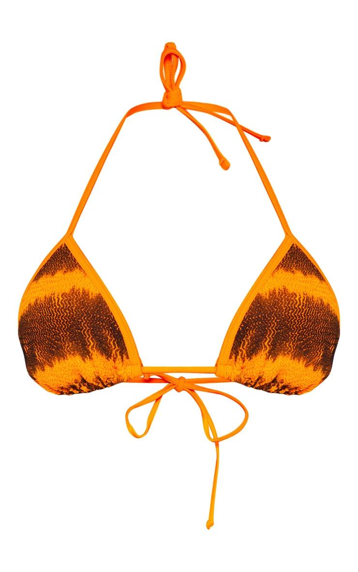 Orange Tie Dye Crinkle Triangle Bikini Top 3