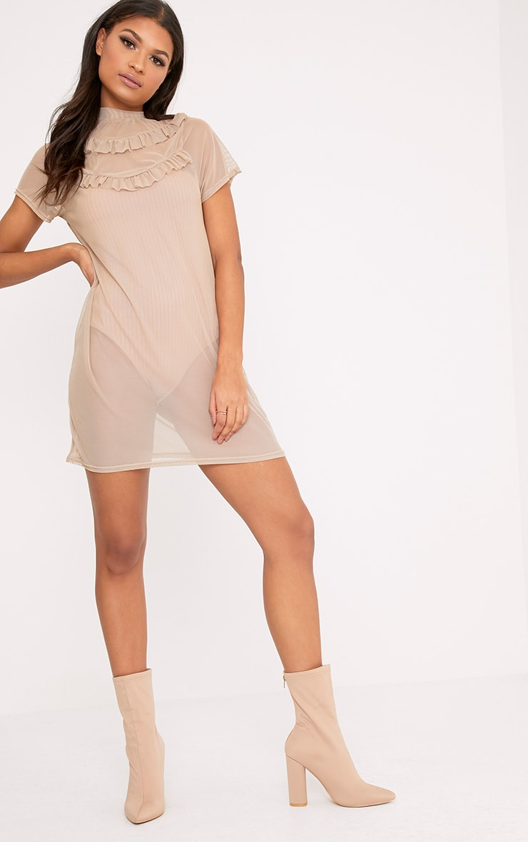 Betty Nude Mesh Frill T Shirt Dress 3
