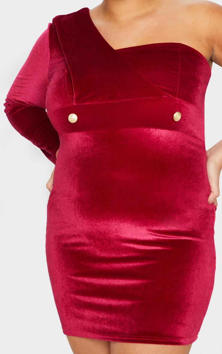 Plus Burgundy Velvet One Shoulder Blazer Dress 5