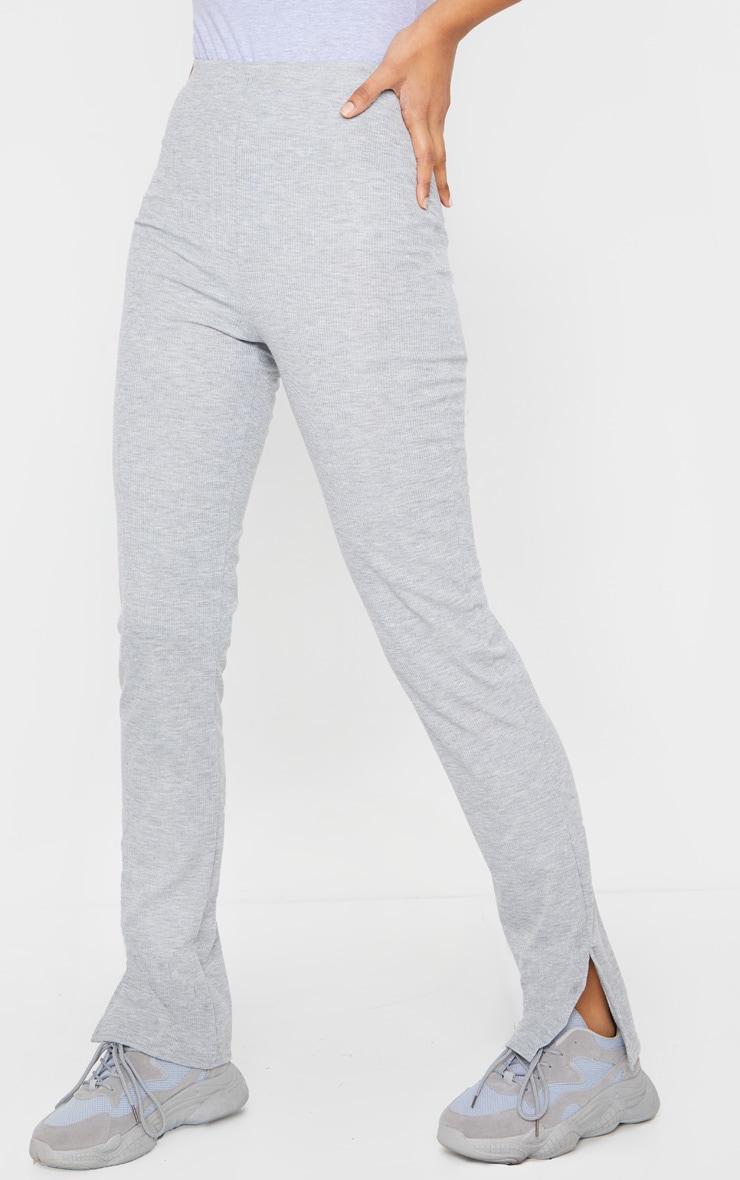 Pantalon skinny côtelé gris chiné à fentes 2