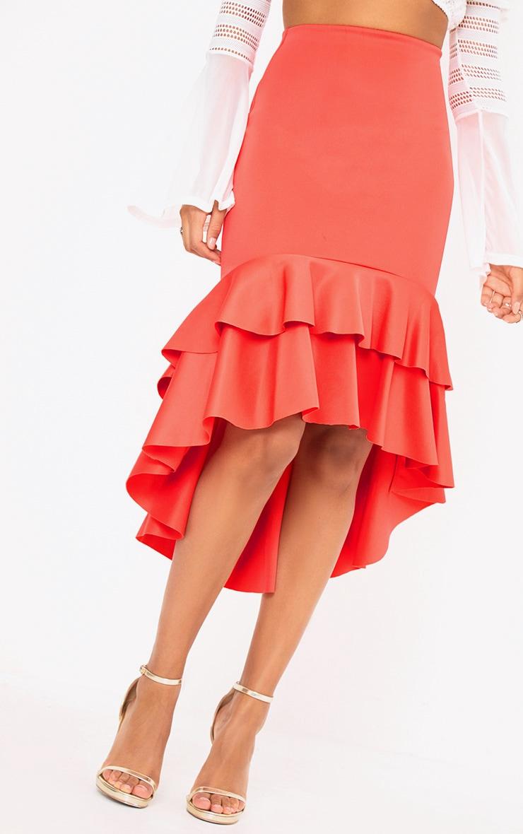 Coral Hi Lo Frill Hem Midi Skirt 5