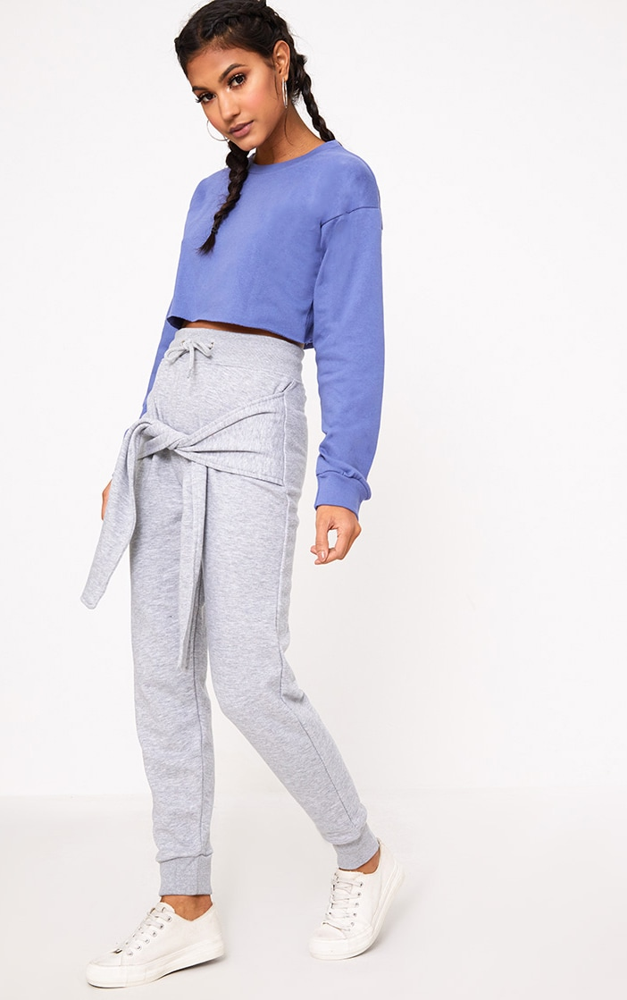 Beau Blue Cut Off Crop Longsleeve Sweater 4
