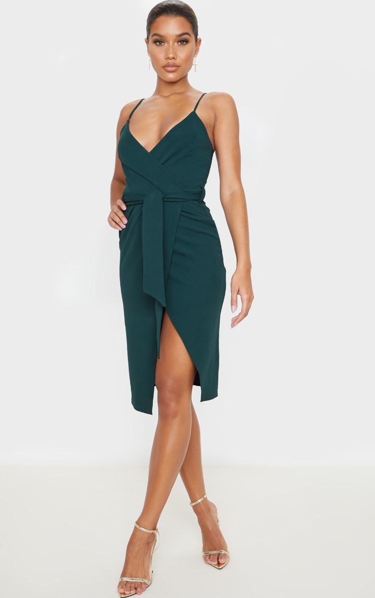 Emerald Green Strappy Wrap Tie Waist Midi Dress 1