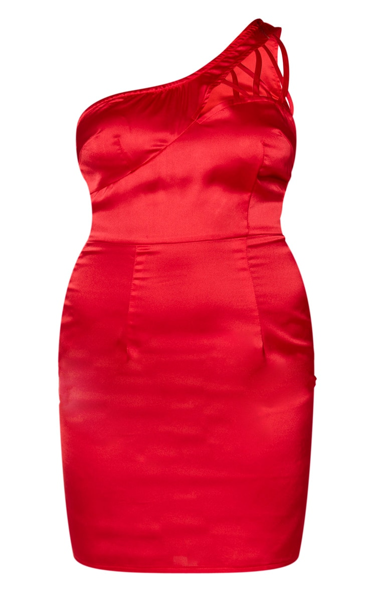 Robe moulante satinée rouge à bretelle unique lacée 5