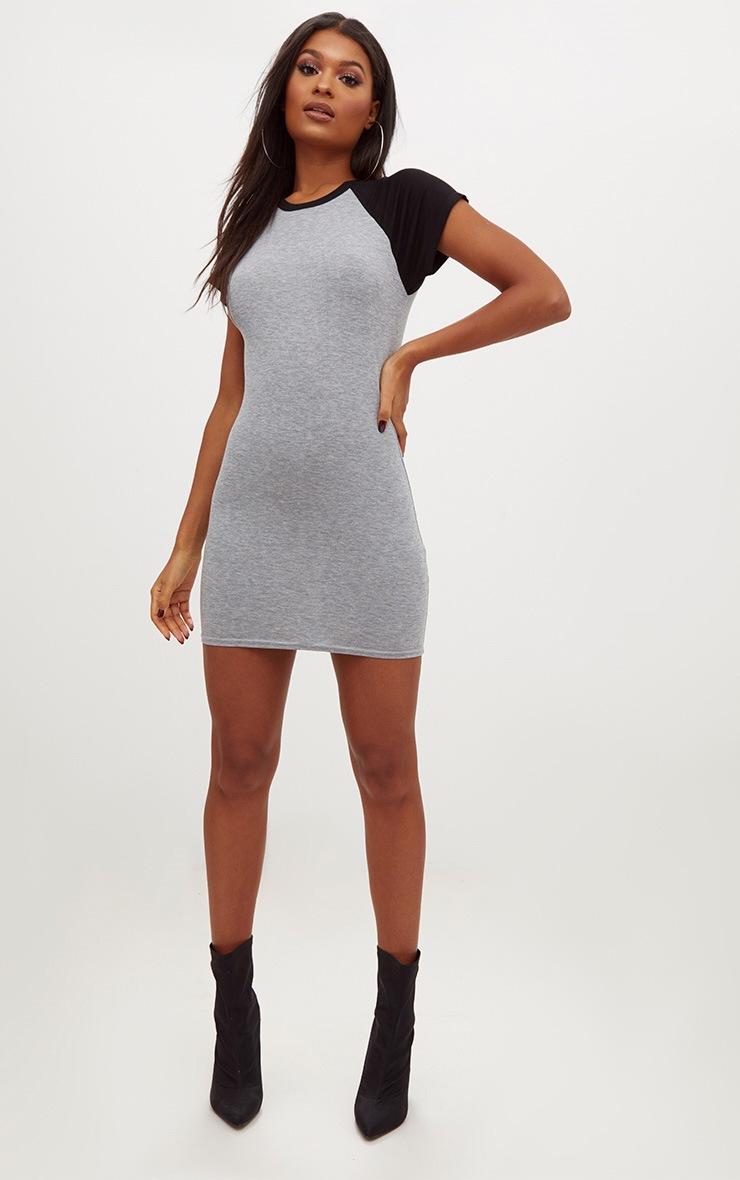 Grey Contrast Raglan Sleeve Bodycon Dress 4