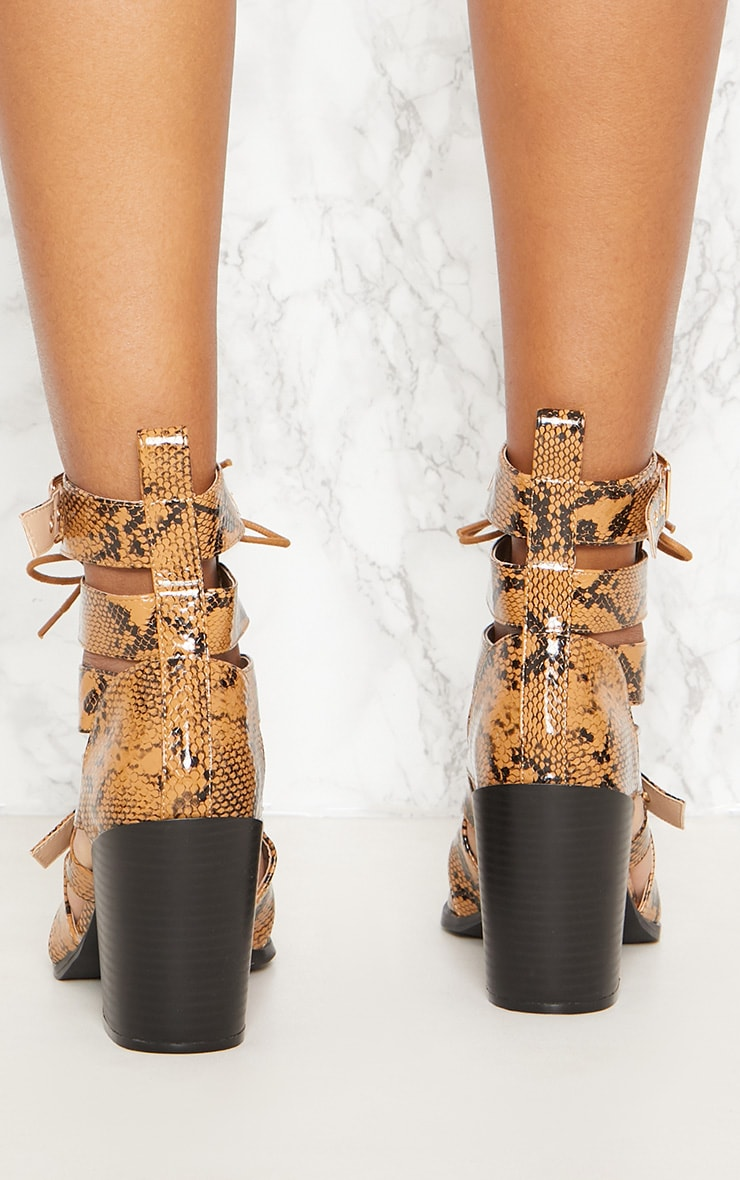 Tan Snake Print Cut Out Heeled Boots 4