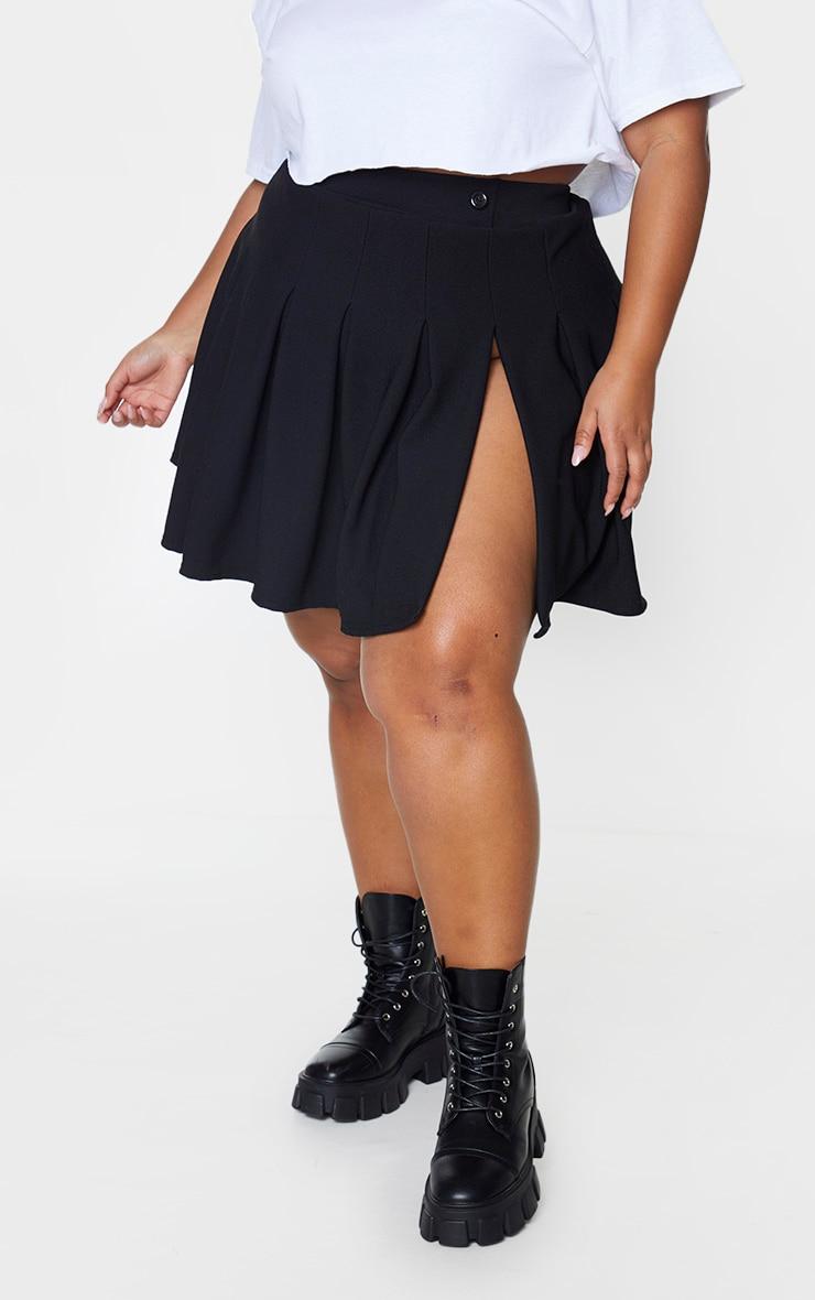 Plus Black Pleated Side Split Tennis Skirt 2