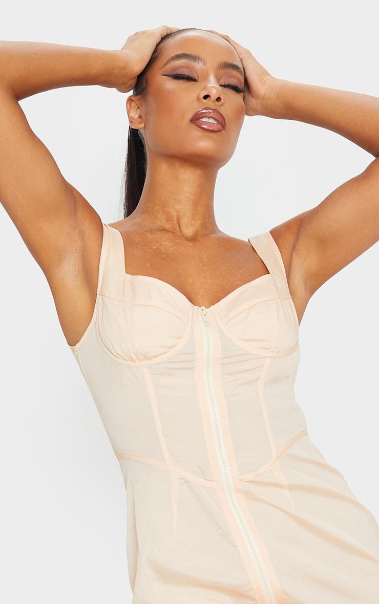 Nude Sleeveless Zip Front Bodycon Dress 4